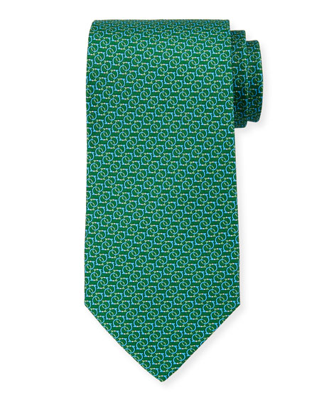 Salvatore Ferragamo Forte Interlocking Gancini Silk Tie, Green