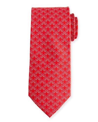 Fringue Floral Pattern Silk Tie
