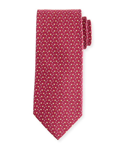Salvatore Ferragamo Flash Desk Lamp Silk Tie, Red