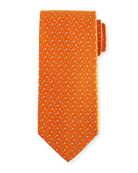 Salvatore Ferragamo Flash Desk Lamp Silk Tie, Orange