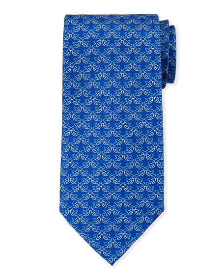 Salvatore Ferragamo Fringue Floral Pattern Silk Tie