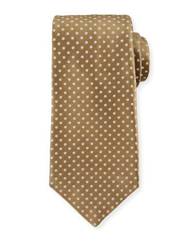 Medium Dots Silk Tie, Tan