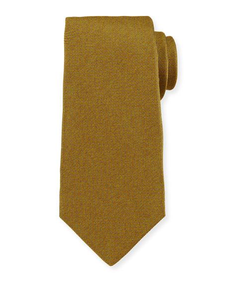 Textured Solid Silk Tie, Gold