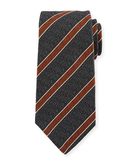 Textured Medium Stripe Silk Tie, Gray