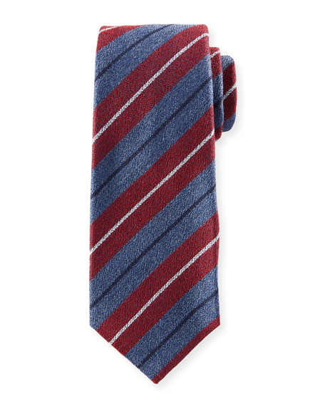Textured Large-Stripe Silk Tie