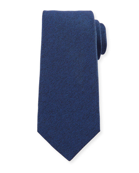 Textured Solid Silk Tie, Blue