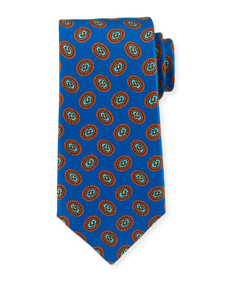 Kiton Fancy Ovals Silk Tie, Royal