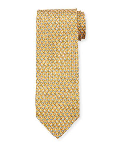 Faggio Leaf Printed Silk Tie, Yellow