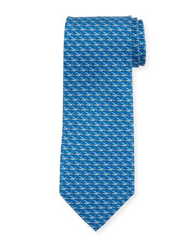 Ducks Printed Silk Tie, Blue