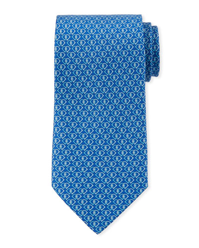 Fiocco Gancini Printed Silk Tie, Blue