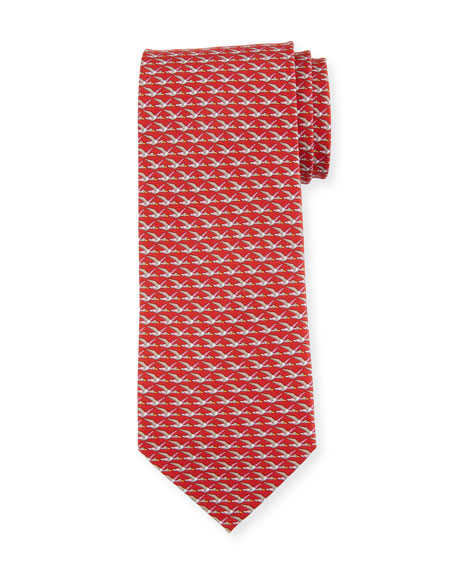 Salvatore Ferragamo Ducks Printed Silk Tie, Red