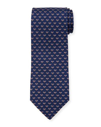 Honeybee Silk Tie, Blue