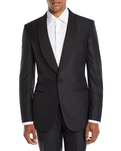 Men's Shawl-Collar Wool/Silk Tuxedo Suit