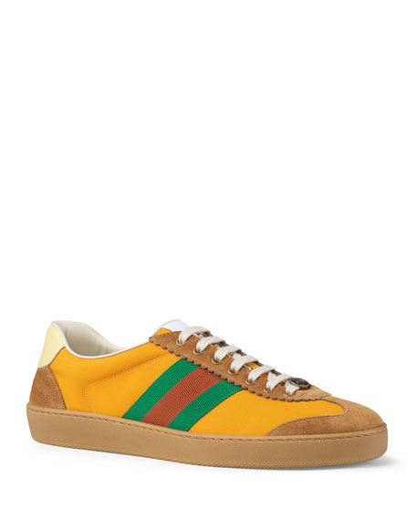 Gucci Men's JBG Retro Nylon Web Low-Top Sneakers