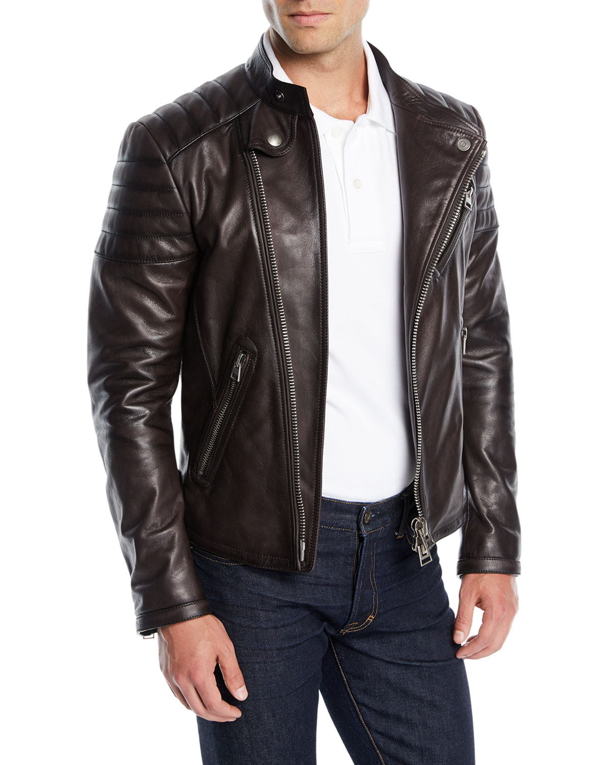 tom ford men 39 s icon leather biker jacket neiman marcus. Black Bedroom Furniture Sets. Home Design Ideas