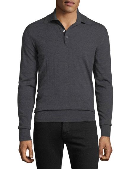 TOM FORD Men's Long-Sleeve Merino Wool Polo Shirt