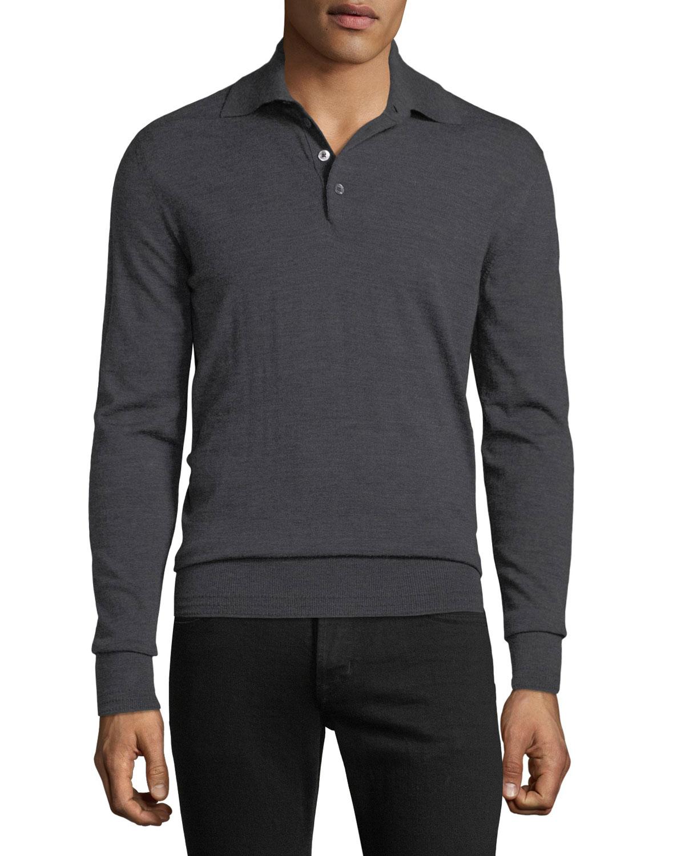 Tom Ford Mens Long Sleeve Merino Wool Polo Shirt Neiman Marcus