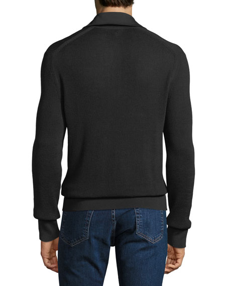 Men's Waffle-Knit Long-Sleeve Polo Shirt