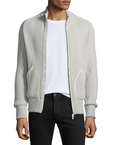 TOM FORD Men's Ribbed Cashmere Zip-Front Fisherman Cardigan