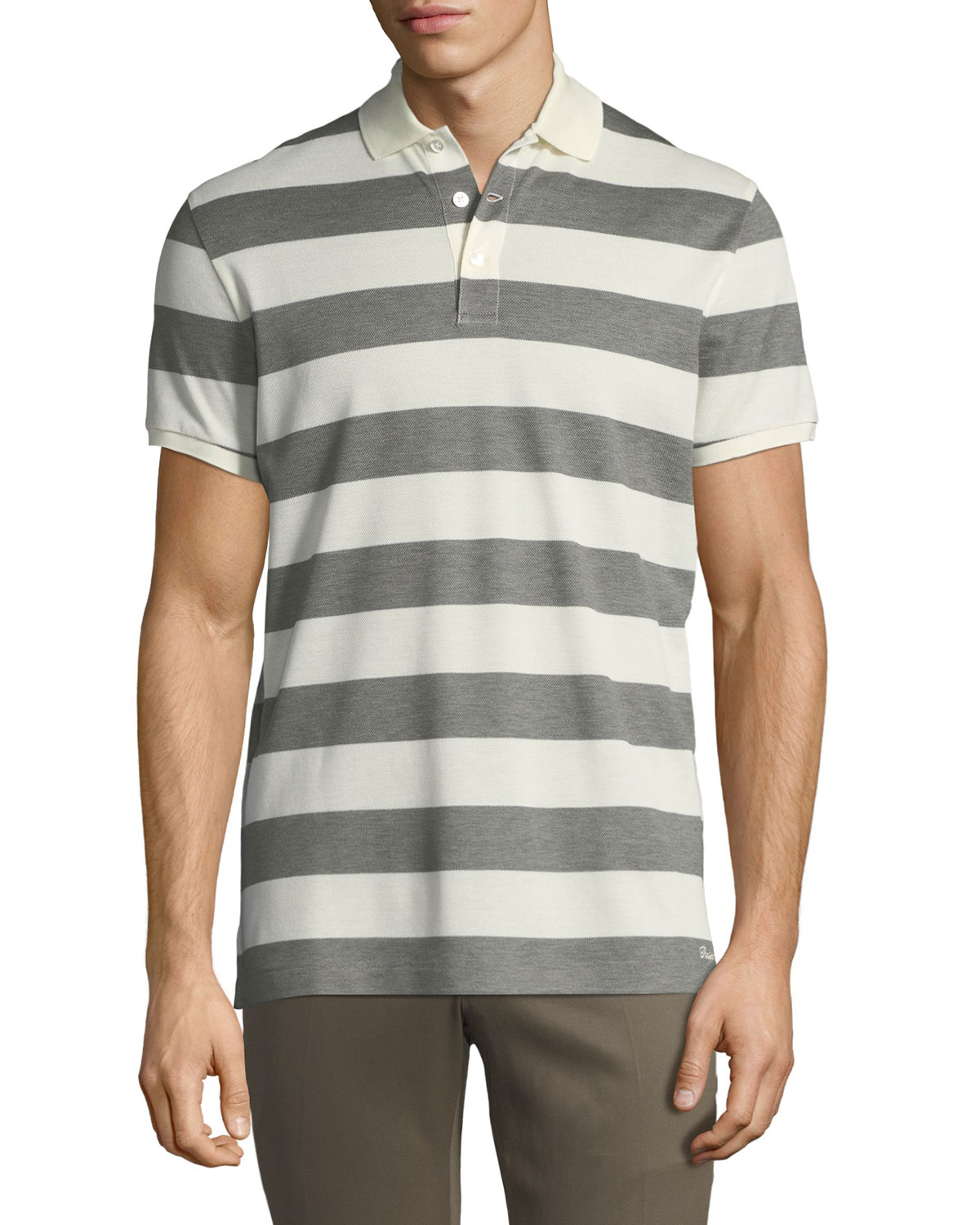 Short Short Sleeve Sleeve Polo Shirt Striped Striped 5Lq34ARj