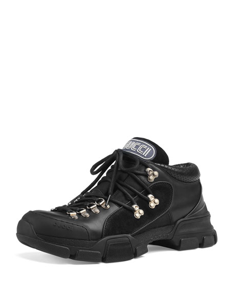 b1oduVUYyF Leather and canvas trekking boots ZYxgr