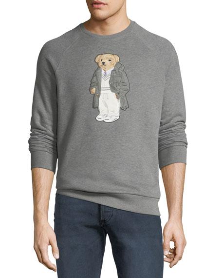 RALPH LAUREN Men'S Bear-Applique Crewneck Raglan Fleece Sweatshirt in Grey