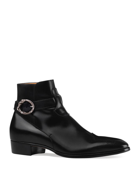 Men's Dionysus Leather Boot with Buckle