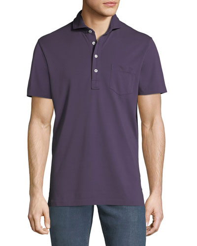 Promotion Men\u0027s 5-Button Polo Shirt with Pocket