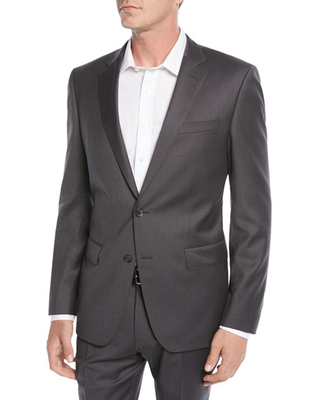 Men's Stretch-Wool Basic Two-Piece Suit, Gray
