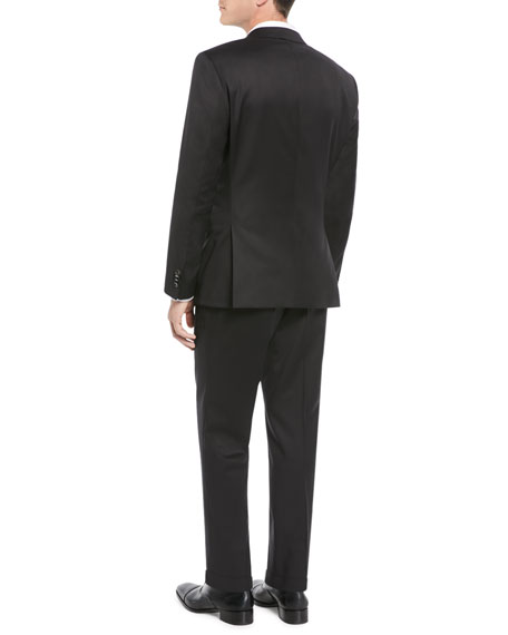 Men's Stretch-Wool Basic Two-Piece Suit, Black