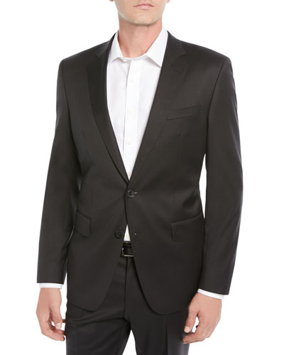 Men's Stretch-Wool Basic Two-Piece Suit, Black