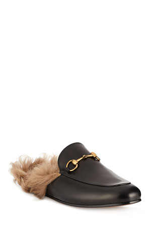Gucci Men's Princetown Fur-Lined Calf Leather Mule Slipper