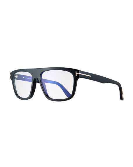 Men's Rectangular Acetate Eyeglasses, Black