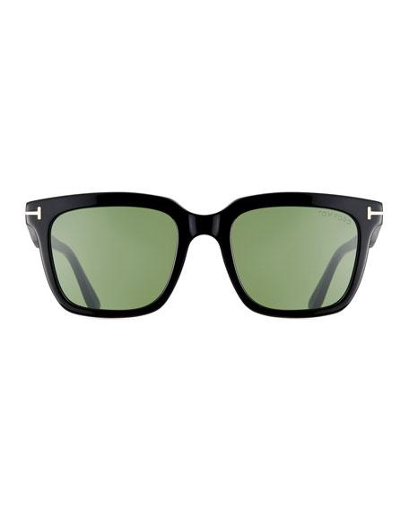 Men's Rectangular Acetate Sunglasses, Black