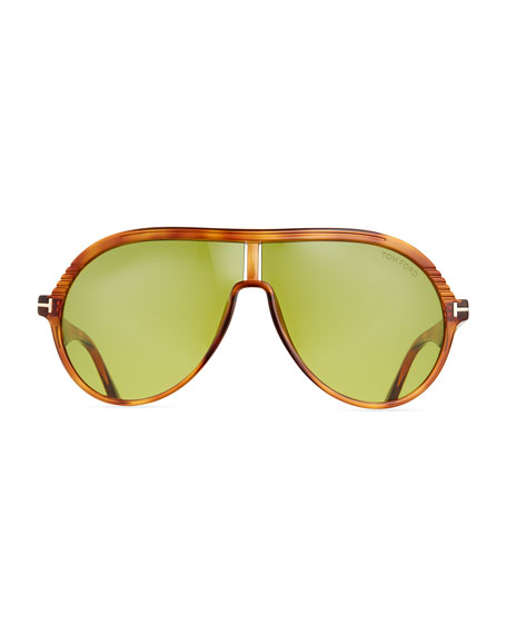 Men's Universal-Fit Acetate Aviator Shield Sunglasses
