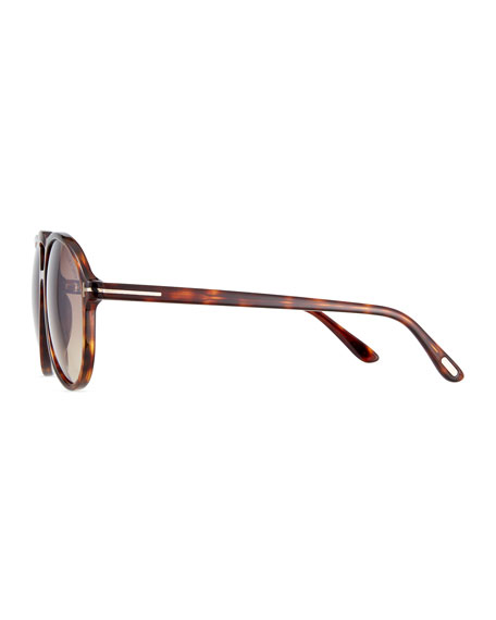 Men's Universal-Fit Acetate Aviator Sunglasses, Brown Pattern