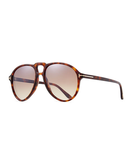 Men's Universal-Fit Acetate Aviator Sunglasses, Brown Pattern