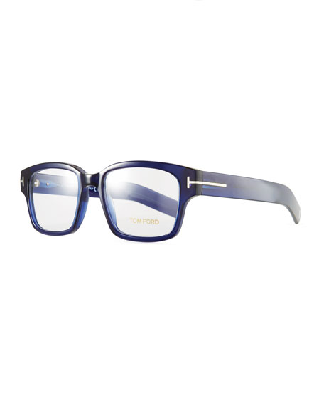 Men's Rectangular Plastic Eyeglasses, Blue