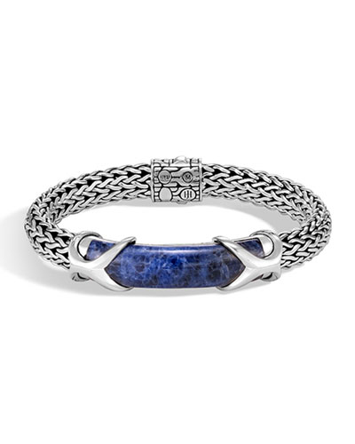 Men's Classic Chain Silver Sodalite Bracelet