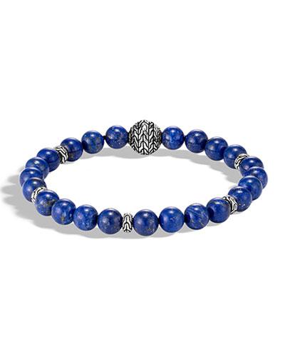 Men's Classic Chain Bead Bracelet w/ Lapis