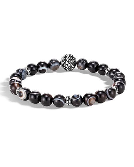 JOHN HARDY Sterling Silver Classic Chain Banded Agate Bead Bracelet in Silver/ Sodalite/ Hematite