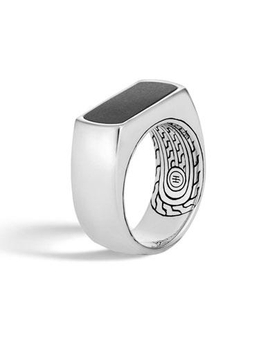 Men's Classic Chain Silver Black Onyx Ring