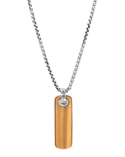 Men's Classic Chain Pendant Necklace w/ Tiger's Eye, 26
