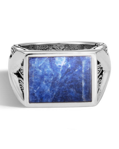 Men's Classic Chain Silver Signet Ring with Sodalite