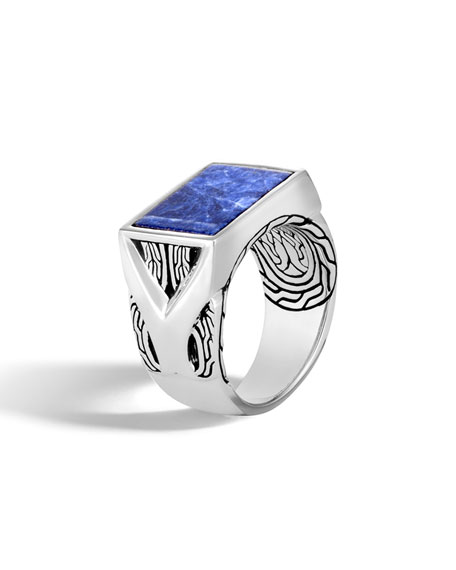 John Hardy Men's Classic Chain Silver Signet Ring with Sodalite