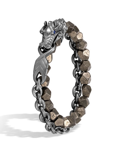 Men's Legends Naga Dragon Silver Bracelet w/ Pyrite Beads