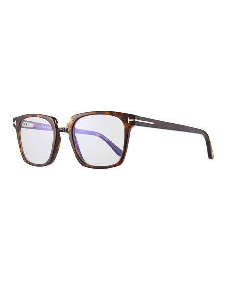 Men's Square Acetate & Metal Glasses, Brown Pattern