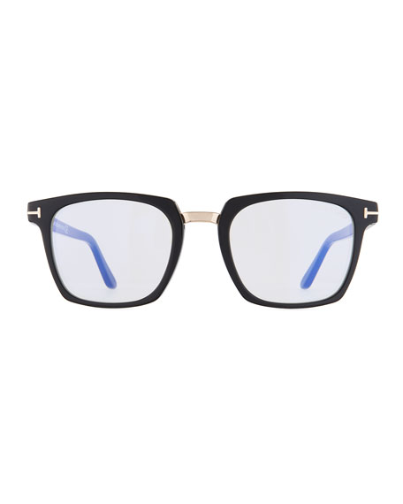 Men's Square Acetate & Metal Glasses, Black