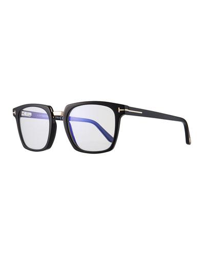 Men's Square Acetate & Metal Glasses, Black