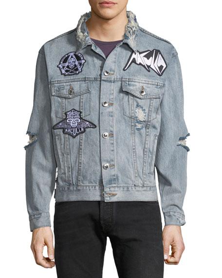 Men's Light-Wash Denim Patched Jacket